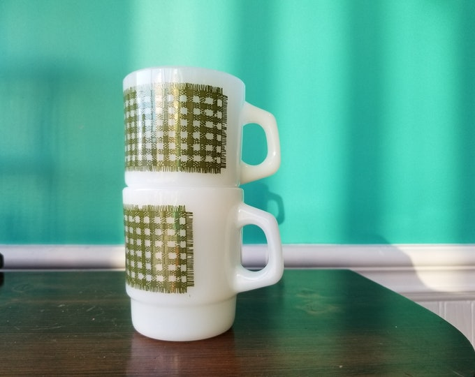Fire King Stacking Milkglass Mug Pair - Green Woven Pattern