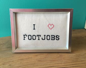 Crassstitches - I <3 Footjobs - Handmade in Toronto