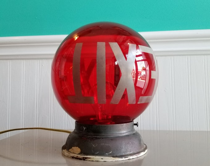 Antique Hand Painted Glass Globe Ceiling Exit Lamp