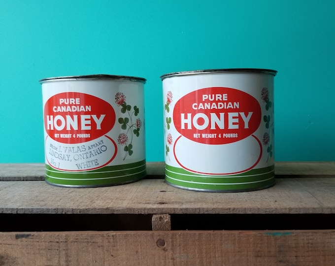 Pair of Vintage Pure Canadian Honey Tins