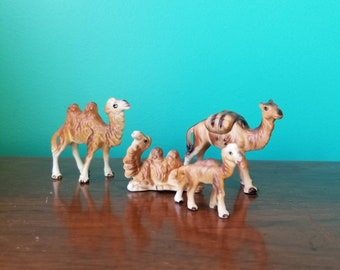Porcelain Camel Family Figurines