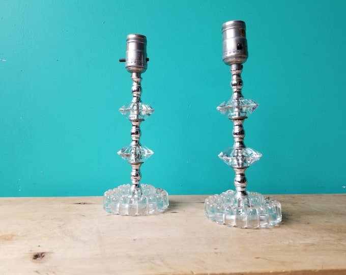Classy Hobnail Glass Bedside Lamp Pair