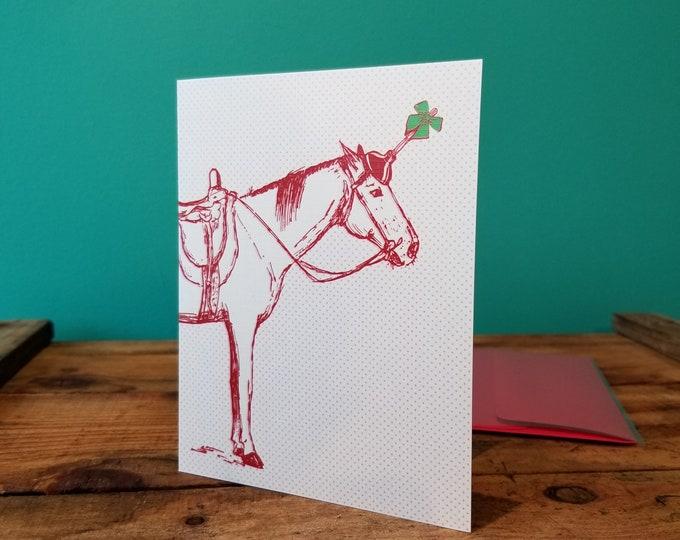 Christmas Gift Horse - Smitten Kitten Christmas Card