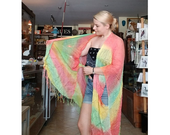 Flowy Sheer Rainbow Shawl or Scarf