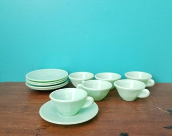 Jadeite Demitasse Tea Cup and Saucer Set of 6