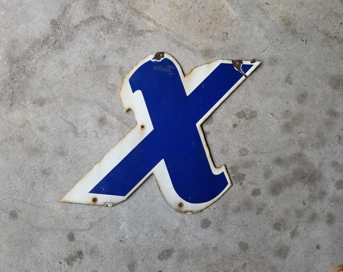 Large Porcelain Enamel Metal Signage Letter X