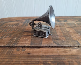 Pewter Record Player Figurine