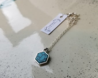 Turquoise Resin and Sterling Silver Necklace