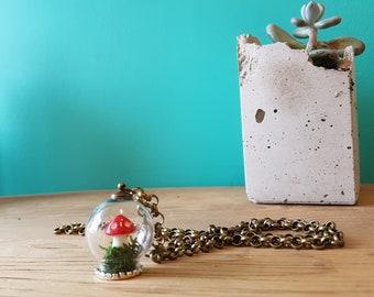 "Handmade Mini Terrarium - Mushroom and Moss - Necklace - 25"" Chain"