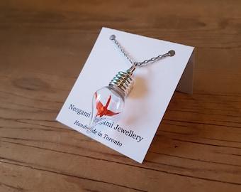 Origami Crane in a Bottle Necklace - Handmade in Toronto - Orange
