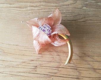 Vintage Lucite Flower Handcrafted Brooch