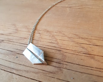 Fine Silver Paper Airplane Necklace - Handmade in Toronto