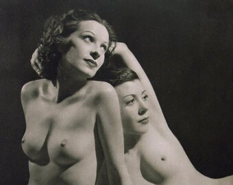 Jazz Era Pre-Code Lesbian Couple - French Style -  Black and White -Multiple Sizes - Sexy, Sensual, Erotic John Everard [730-715]