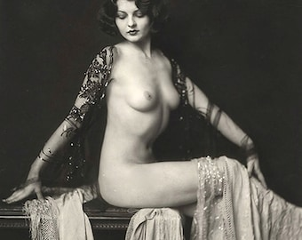 1920's Ziegfeld Follies Nude Star Lillian Bond-Black and White-Mutliple Sizes-[730-184] Sexy Sensual Erotic Flapper