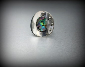Sterling silver ring abalone shell ring silver circle ring **size 7.75
