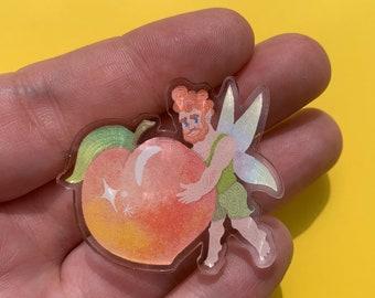 Peach Fairy Pin 40mm Clear Acrylic