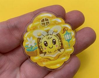 Honey Bee Home Pin 40mm Acrylic