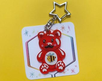 Red Gummy Bear Acrylic Charm Keychain