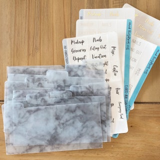 10 Marble  Dividers for Wallets & Cash envelopes. 27 pre-printed clear tab labels. dividers for long wallets. Perfect for cash budgeting. Go