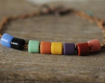 antique 20s beads delicate copper bracelet