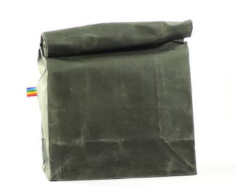 Waxed Canvas Lunch Bag - Bag For Men and Women -  Zero Waste - Reusable Waxed Lunch Bag - Olive Green - Eco Friendly - Gift for Him