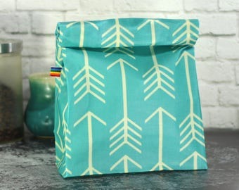 Reusable Lunch Bag - Teal Turquoise Arrow Fabric - Eco Friendly - Zero Waste - Gift for Her - Back to school - Waxed Canvas Lunch Bag