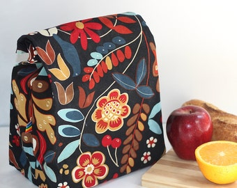 Canvas Lunch Bag - Zero Waste  - Waxed Canvas Lunch Bag - Gift for Her - Reusable Lunch Bag - Waxed Fabric lunch bag - Hand Waxed Canvas Bag
