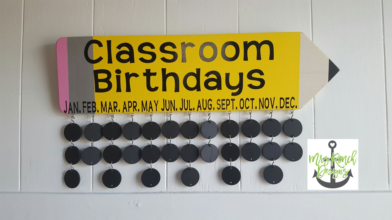 Classroom Birthday Pencil Celebration Board Teacher | Etsy