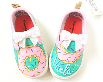60c8c307df Custom donut canvas shoes - personalized doughnut shoes - toddler donut  present - donut birthday party - kids custom doughnut gift - sweets