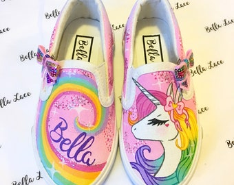 0fe3d23ab Unicorn shoes - unicorn birthday party - unicorn theme - unicorn gift for  kids - painted shoes - custom shoes - personalized present for kid