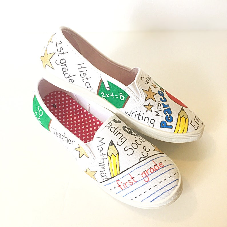 643454bef2649 custom teacher canvas shoes - gift for teacher - teacher gift - school  shoes - teacher appreciation - present for teacher - handpainted shoe