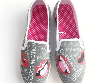 Pathologist - speech gift - speech therapy - SLP gifts - Speech language pathologist - SLP - speech teacher - custom hand painted shoes