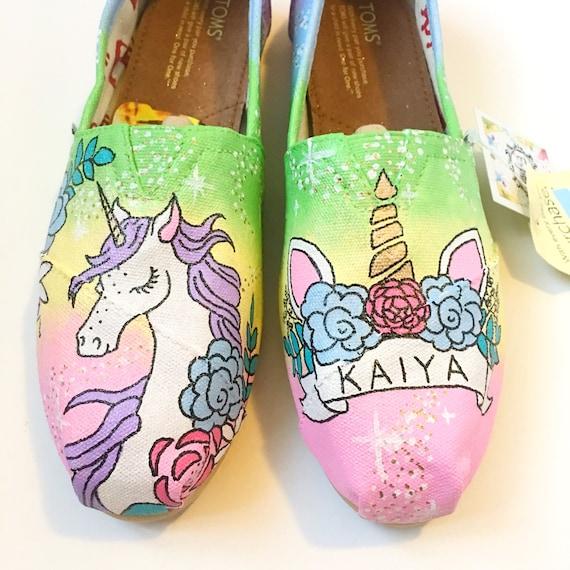 d84430e699ffd unicorn shoes - unicorn gift - unicorn toms - handpainted toms - custom  toms - rainbow toms - rainbow shoes - unicorn lover present