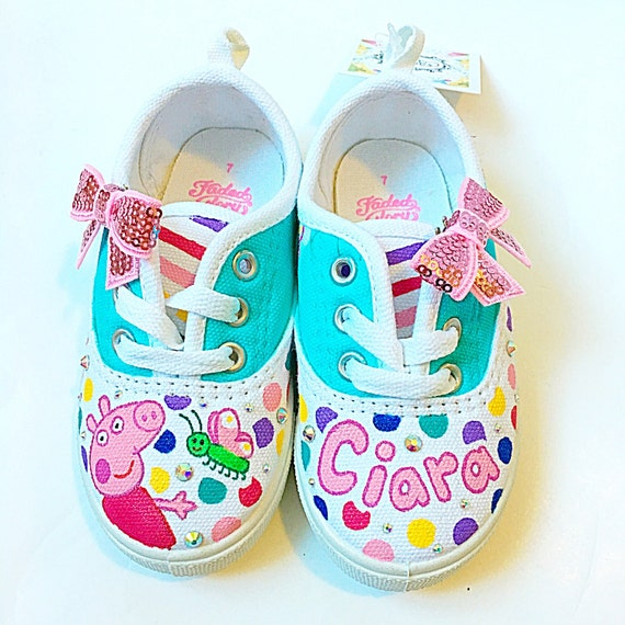 3f0370da488 Custom peppa pig canvas shoes Toddler birthday party shoes