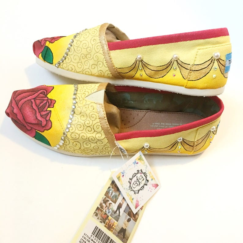 afafe0efcc8 beauty and the beast shoes - custom belle shoes - princess shoes - princess  belle toms - princess gift - hand painted toms - custom toms