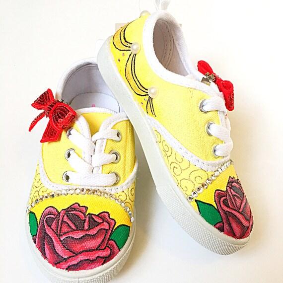 2d8ecc33a8c beauty and the beast shoes - custom belle shoes - princess shoes - princess  party outfit - princess gift - hand painted shoes - custom shoes