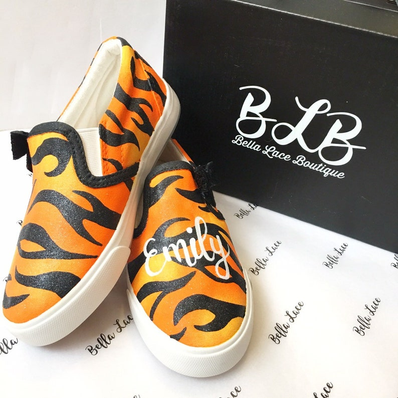 41181fa0b98 Tiger print shoes custom painted shoes animal print shoes