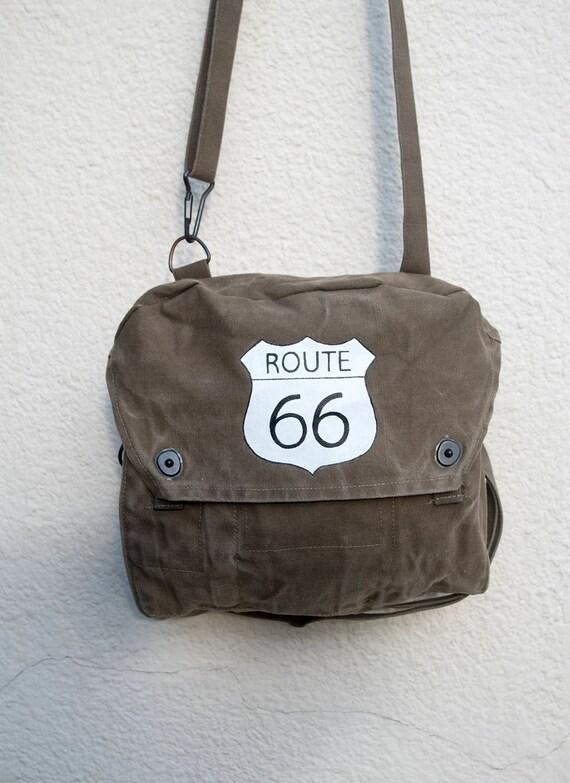 Hand painted messenger bag Route 66  2b846023c5c93