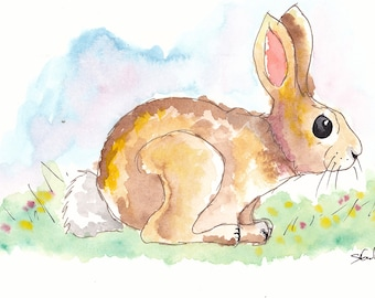 Ink and Watercolour Rabbit painting