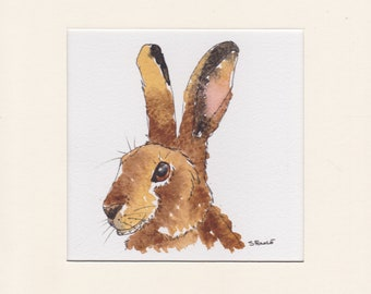 Ink and Watercolour Hare painting
