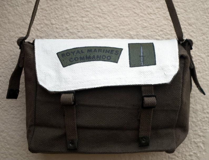 e48a01fa5f23 Hand painted messenger bag - 'Royal Marine Commando'