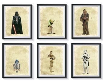 Retro Star Wars Art Print Set - Qty 4 - Distressed, Vintage Look, Nursery, Bedroom, Playroom Decor - Darth Vader, R2D2, C3PO, Yoda Posters