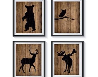 Rustic Woodland Forest Animals Art Prints - Qty 4 - Wall Art Decor - Moose, Owl, Bear, Deer Nursery, Distressed Wood, Playroom, Bedroom