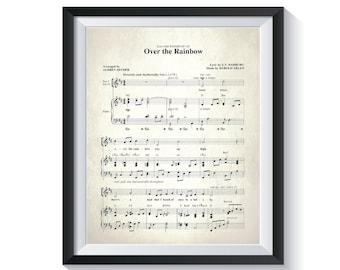Somewhere Over The Rainbow Music Sheet. Vintage Music Nursery Gender Neutral BEDROOM Song Sheet Baptism Decor baby shower gift Boy Girl