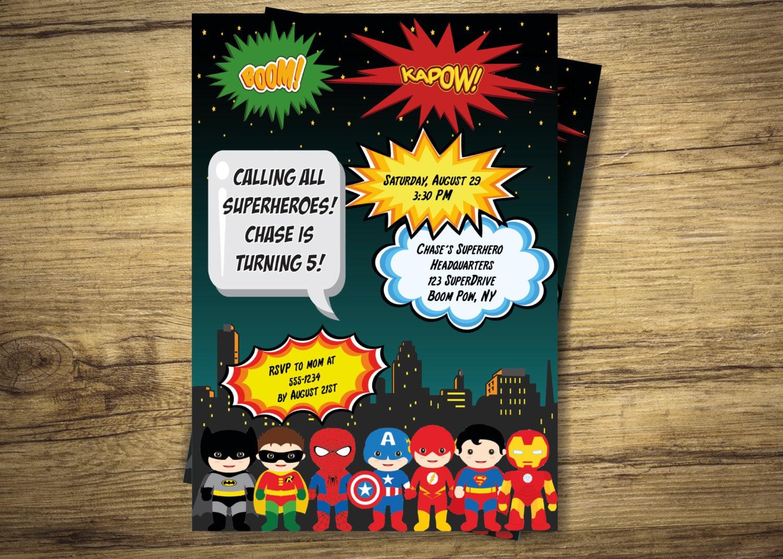 Invitación fiesta de cumpleaños de niños superhéroes   Etsy