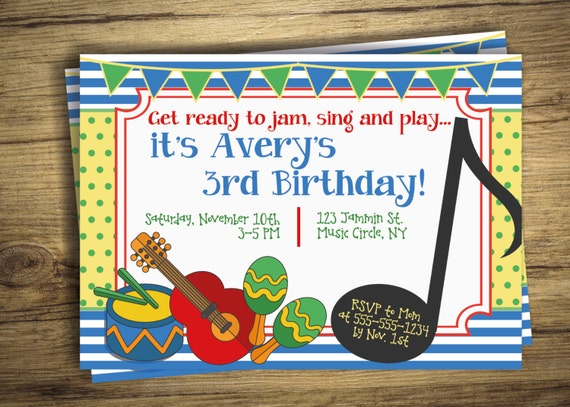Music birthday party invitation drum music circle first etsy image 0 filmwisefo