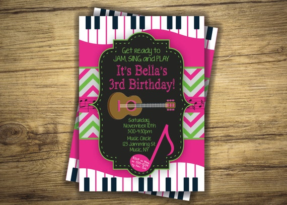 Music birthday party invitation guitar piano music circle etsy image 0 filmwisefo