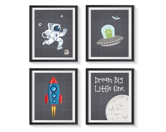 Outerspace Rocket Ship Art Prints - BEDROOM, NURSERY, PLAYROOM decor, Astronaut, Alien, Planets, Love You To The Moon, Boy, Girl - Qty 4