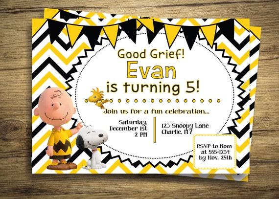 Charlie Brown y Snoopy cumpleaños invitación fiesta | Etsy