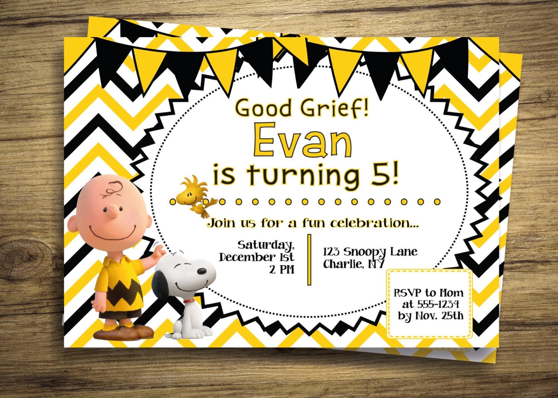Charlie Brown & Snoopy Birthday Party Invitation Peanuts | Etsy